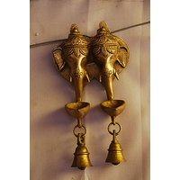 MC Brass Metal Lord Ganesh Deep Set Of 2