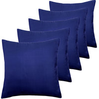 ANS Navy Blue Solid Cushion Covers Set Of 5