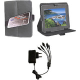 7 Inch Smart Leather Flip Cover For Videocon Vt85c With 5 In 1 Mobile Charger