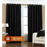 Deal Wala Pack Of 2 Black Color Eyelet Door Curtain