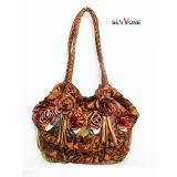 Sevvone Unique Brown Flower Design Handbag