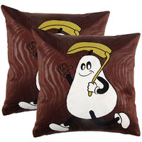 Manpho Peach Embroidered Kids Cushion Cover (Set Of 2)