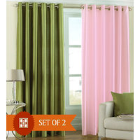 Deal Wala 1 Green & 1 Light Pink Eyelet Door Curtain