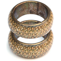 Bangle Combo Of Artisanant Golden Look Bangle Set Of 2 Pcs In India