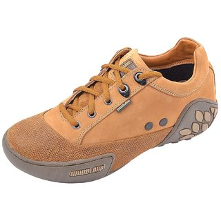 Woodland Classic Brown Leather Men's Sneakers (Size-8 Uk)