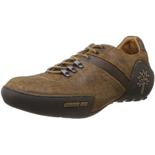 Woodland Modern Brown Leather Men's Sneakers (Size-7 Uk)