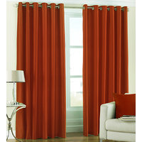Deal Wala Pack Of 2 Rust Color Eyelet Door Curtain