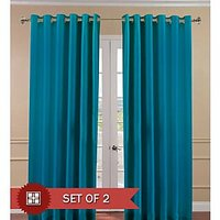 Deal Wala Pack Of 2 Aqua Blue Eyelet Door Curtain