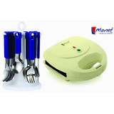 Combo Of Monet 2 Slice Sandwich Toaster + Elegant25 Pcs Blue Cutlery Set