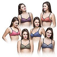 Non Wired Multicolored T-Shirt Bra (B-Cup) - Set Of 6