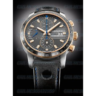 Chopard Monaco Swiss Made Black Dial Black Leather Starp Quartz Mens Watch