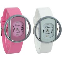 Glory Kawa Combo of Two Kawa Circular Silver Case Watches by 7star