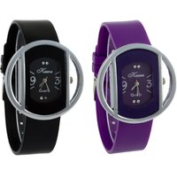 Glory kawa Combo of Two Circular Silver Case Watches by 7Star