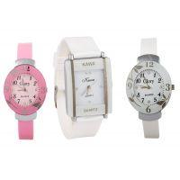 Glory Combo Of Three Watches- Pink And White Glory White Rectangular Dial Kawa Watch by 7Star