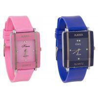 Shree Glory Combo Of Two Watches-Baby Pink  Blue Rectangular Dial Kawa Watch For Women by BONE