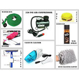Combo Of Water Gun, Air Compressor 250Psi, Car Duster, Formula 1 Wax Polish, 3 In 1 Wiper, F1 Dashboard Wax Polish Spray, Gloves,Wax Polish, Vacuum Cleaner