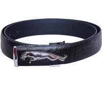 Men Jaguar Royal Silver Buckle Formal, Casual, Party Black Genuine Leather Belt