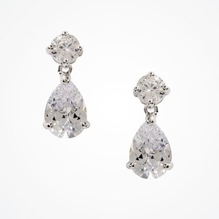 Cara Round With A Solitaire Pear Drop Swarovski Stone & Sterling Earrings