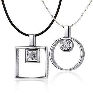 Cara Subtle Square In Square & Round In Round Couple Pendants Made In Swarovski Stones