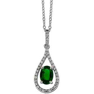 Cara Emerald & Crystal Studded Pendant Made In Sterling