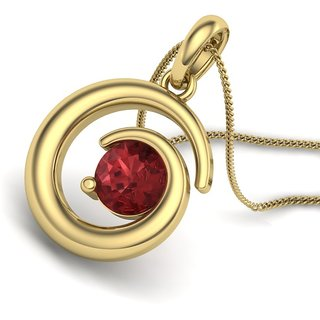 Cara Hold My Love Ruby Studded Gold Polish Pendant Made In Sterling