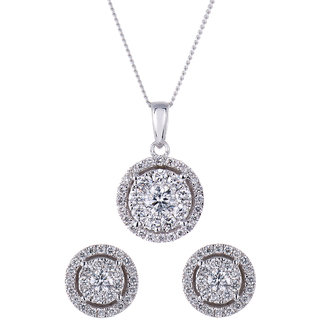 Cara Soltaire In Halo Setting Pendant Set Made In Sterling Silver