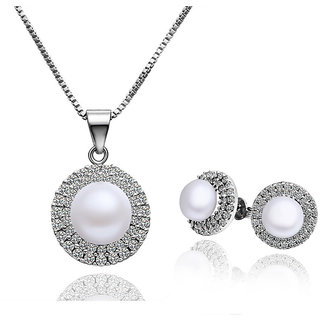Cara Single Pearl With Halo Setting Pendant Set Made In Swarovski Stone & Sterling
