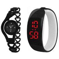 Glory Black plastic Round Couple Analog and Digital LED Watch - Set of 2