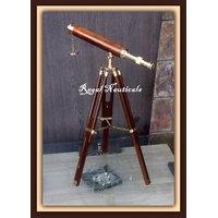 "Brass Replica Design Telescope With Wood Tripod Floor Stand 18"" NAUTICAL MARINE"