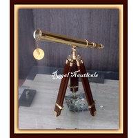 "Brass Replica Design Telescope With Wood Tripod Floor Stand 18"" NAUTICAL MARINE - 4530294"