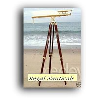 Nautical Replica Brass Silver Finish 39 Inch Telescope & Wood Tripod Floor Stand