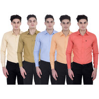 London Looks Men's Multicolor Regular Fit Casual Shirt(Pack of 5)