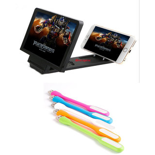 3D Folding Mobile Phone HD Screen Magnifier Stand with Flexible USB LED Lamp
