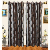 Decor Bazaar Brown Leaf Polyester Curtain-Set Of 2-7 Feet