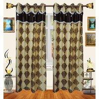 Decor Bazaar Designer Damask Brown Polyester Curtain-Set Of 2-7 Feet