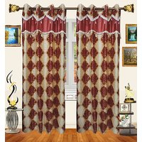 Decor Bazaar Designer Damask Light Red Polyester Curtain-Set Of 2-7 Feet