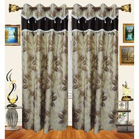 Decor Bazaar Designer Leaf Brown Polyester Curtain-Set Of 2-7 Feet