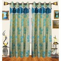Decor Bazaar Designer Leaf Aqua Blue Polyester Curtain-Set Of 2-7 Feet