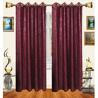 Decor Bazaar Set Of 2 Floral Self-Print Maroon Polyester Curtains-7 Feet