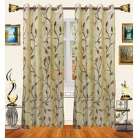 Decor Bazaar Set Of 2 Sheer Leaf Panel Brown Curtains-7 Feet