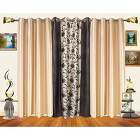 Decor Bazaar Set Of 3 Floral Panel Purple Beige Curtains-7 Feet