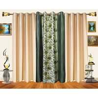 Decor Bazaar Set Of 3 Floral Panel Green  Curtains-7 Feet