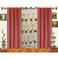 Decor Bazaar Set Of 3 Leaf Coffee Brown Polyester Curtains-7 Feet