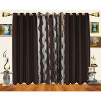 Decor Bazaar Set Of 3 Leaf Brown Polyester Curtains-7 Feet