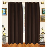 Decor Bazaar Set Of 2 Royal Crushed Polyester Brown Eyelet Curtain-7 Feet