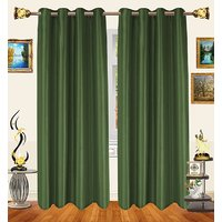 Decor Bazaar Set Of 2 Royal Crushed Polyester Silver Gray Eyelet Curtain-7 Feet