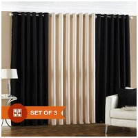 Handloomdaddy 2 Black & 1 Cream Eyelet  Door Curtain
