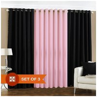 Handloomdaddy 2 Black & 1 Light Pink Eyelet Door Curtain