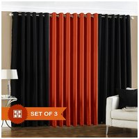 Handloomdaddy 2 Black & 1 Rust Eyelet Door Curtain