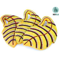 Yellow Leaf Shaped  Coasters Set 3 Of